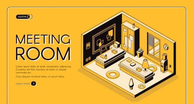 현대 coworking 센터 사무실 작업 영역 및 서비스 아이소 메트릭 벡터 웹 배너.