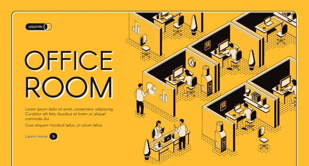 Modern coworking center with individual workplaces isometric projection vector web banner.