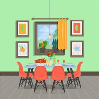 Интерьер современной уютной столовой со столом
