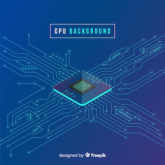 Modern cpu background with isometric perspective