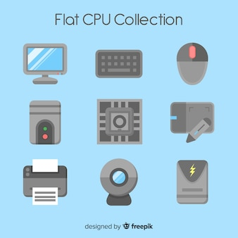 Modern cpu collection with flat design