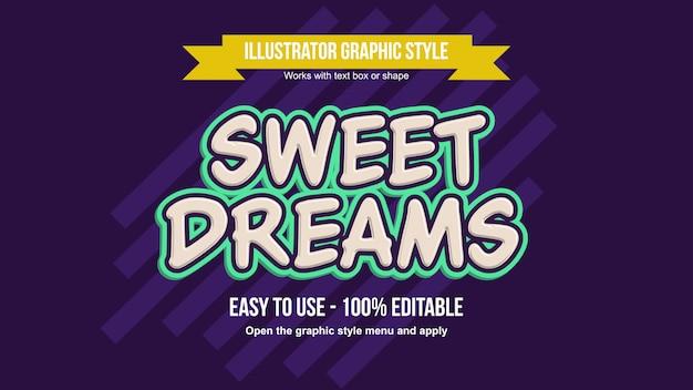 Modern cream color with green stroke 3d cartoon editable text style