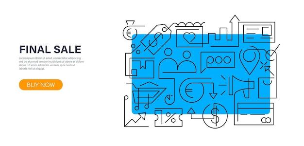 大セールや割引落書きスタイルのショッピングのためのアウトラインスタイルのモダンなクリエイティブバナーデザイン