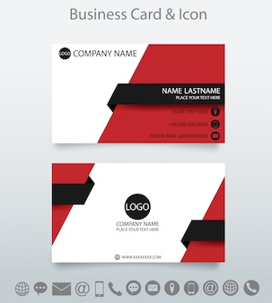 Modern creative business card template and icon. red and black