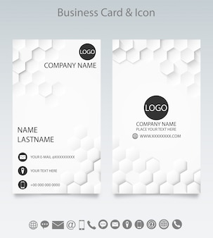 Modern creative business card template and icon.