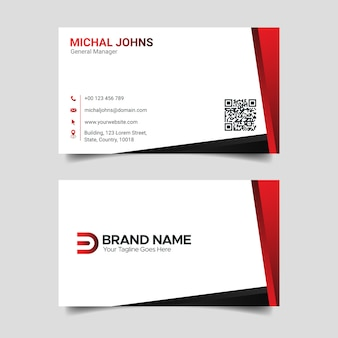 Modern creative business card template, red and white visiting card design