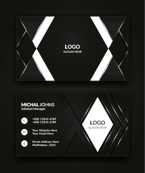 Modern creative and clean business card template design in black and white color vector background.