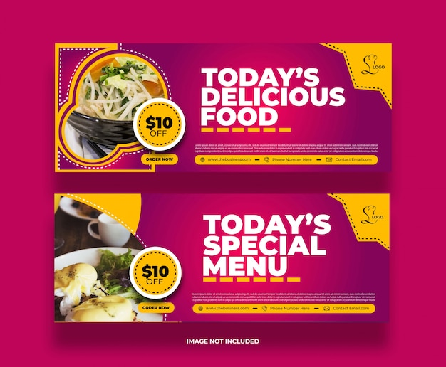 Modern creative colorful delicious restaurant yummy food banner for social media