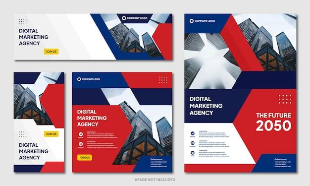 現代の創造的な企業パンフレットデザインの背景テンプレートとソーシャルメディアの投稿バナー