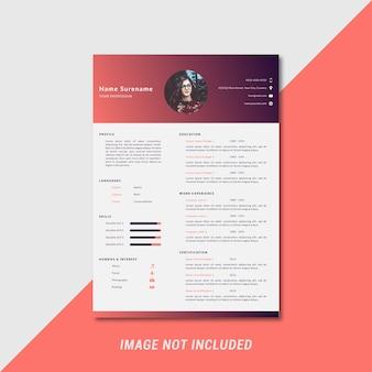 Modern and creative curriculum vitae template design