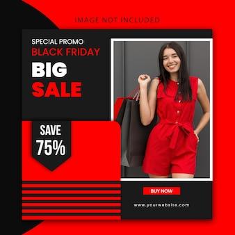 검은 금요일 패션 판매 및 검은 색과 붉은 색의 웹 사이트 배너에 대한 현대 창조적 편집 가능한 소셜 미디어 게시물 템플릿