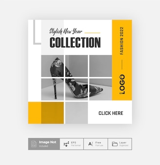 Modern creative fashion sale offer post design template shoes sale post colorful square flyer layout