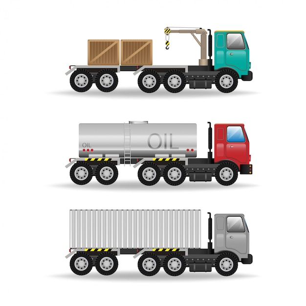 Modern creative flat design logistics fleet vehicles set featuring cargo trucks