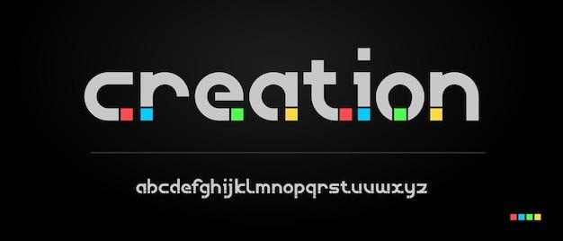 현대 창의적인 글꼴 디자인. 재미, 스포츠, 기술, 패션, 디지털, 미래 창의적인 로고 글꼴에 대한 타이포그래피 도시 스타일