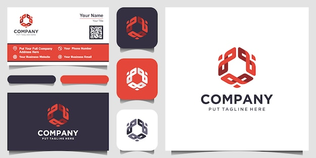 Modern creative hexagon design logo element with business card template.