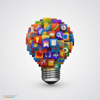 アプリケーションアイコン付きのモダンなクリエイティブ電球。ビジネスソフトウェアとソーシャルメディアの概念。