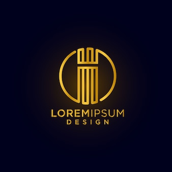 Modern  creative  and luxury letter i logo design initial