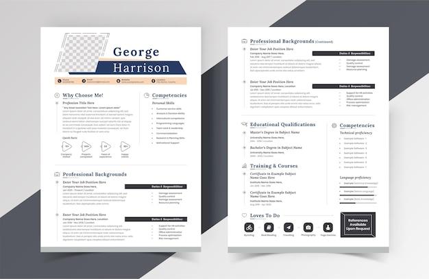 Современный креативный дизайн шаблона резюме резюме