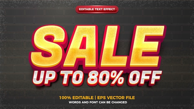 Modern creative sale 3d editable text effect