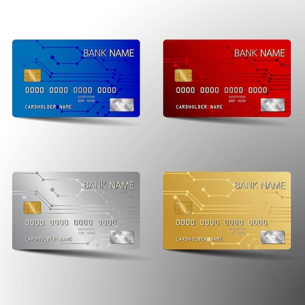 현대 신용 카드 템플릿 디자인을 설정합니다. 초록에서 영감을 얻습니다. 벡터 illustr
