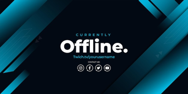 Modern currently offline background with blue shapes