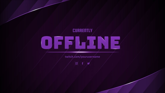 Modern currently offline banner with abstract background