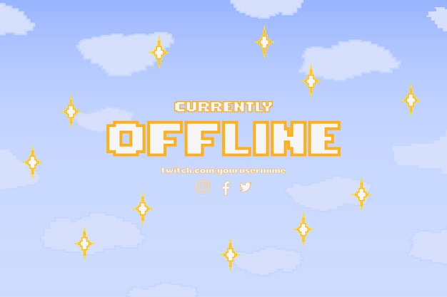 Modern currently offline banner with pixel design