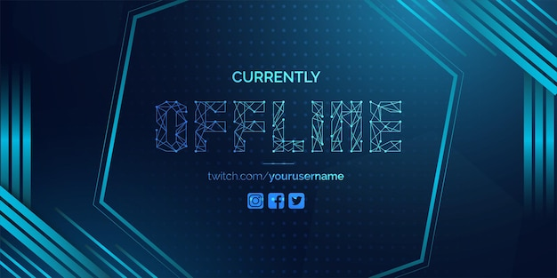 Modern currently offline twitch banner background with abstract blue shapes