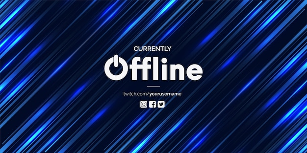 Modern currently offline twitch banner vector template