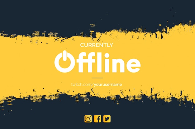 Modern currently offline twitch banner with brush strokes