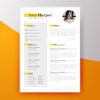 Modern curriculum vitae template for new employee
