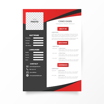 Modern curriculum vitae with abstract shapes