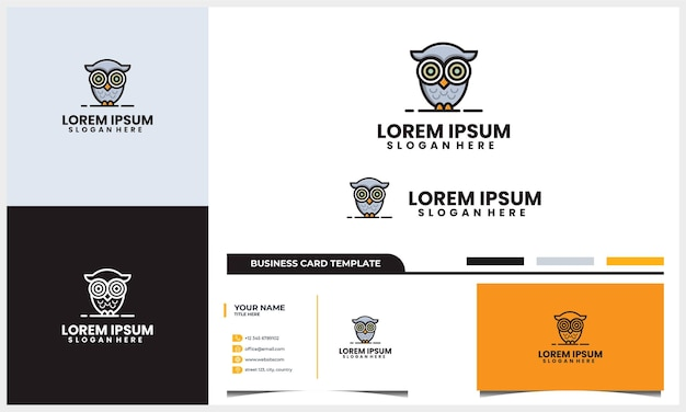 Modern and cute owl logo with business card design template