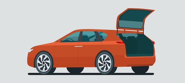 分離されたオープントランクを備えた現代のcuv車。ベクトルイラスト。 Premiumベクター
