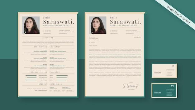 現代のcv履歴書と名刺-緑とライトベージュ色のクリエイティブでクリーンな名刺テンプレート