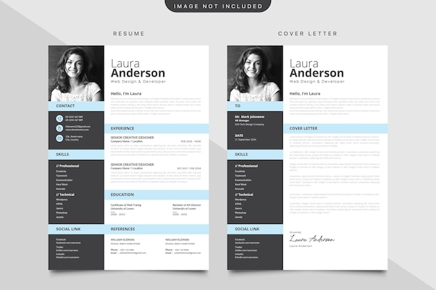 Modern cv template with cover letter template