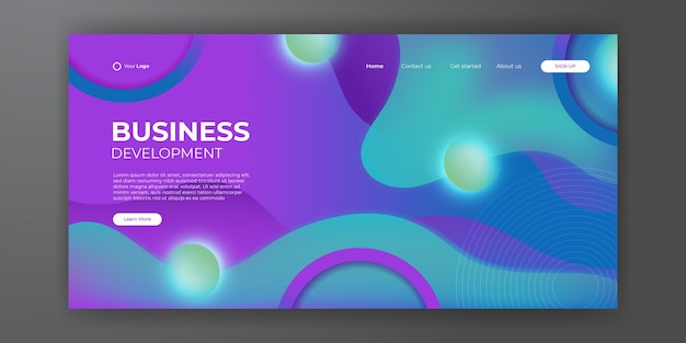 Modern cyan purple business landing page template with abstract modern 3d background. dynamic gradient composition. design for landing pages, covers, flyers, presentation, banners. vector illustration