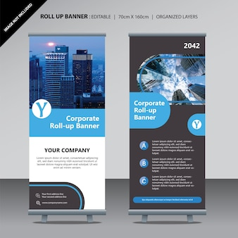 Modern cyan round corporate business roll up design template