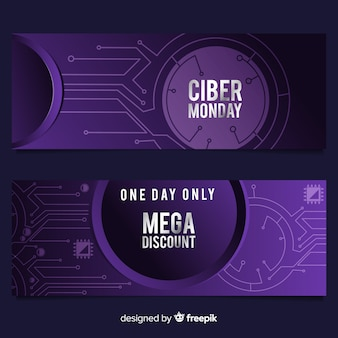 Modern cyber monday banners with gradient style