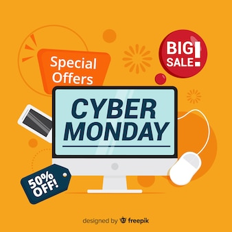 Modern cyber monday composition with flat design