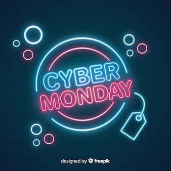 Modern cyber monday composition with neon style