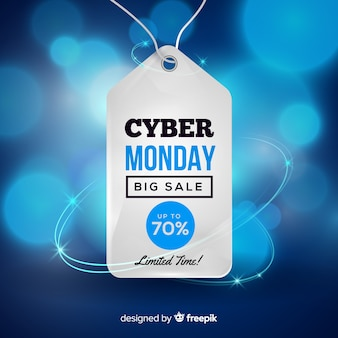 Modern cyber monday composition with realistic design