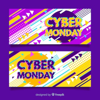 Modern cyber monday sale banner set with glitch effect