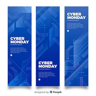 Modern cyber monday sale blue banner set