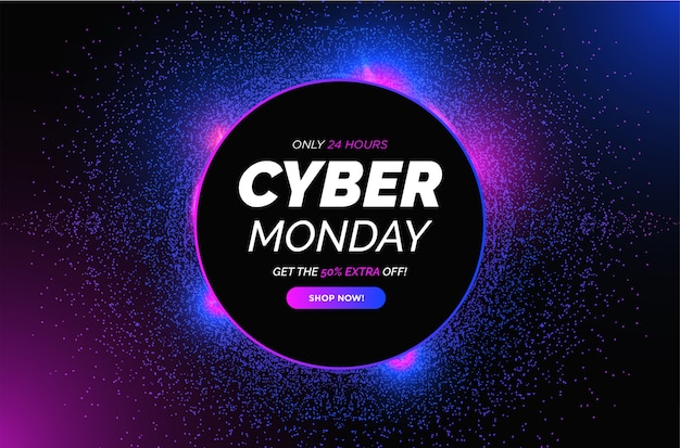Modern cyber monday sale with abstract circle particles frame