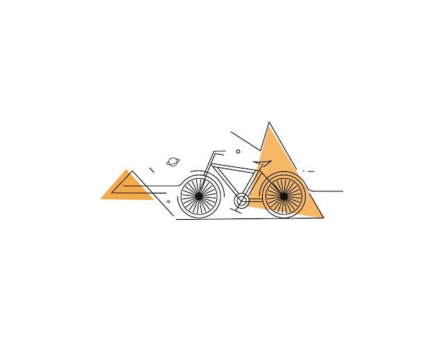 Modern cycling flat line art drawing vector illustration