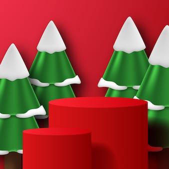 赤い背景色でクリスマスや冬の松の木とモダンなシリンダー台座表彰台ステージ製品ディスプレイ
