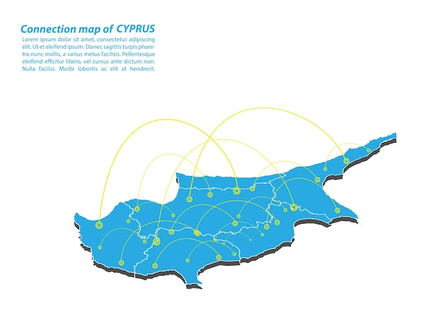 Modern of cyprus map connections network design