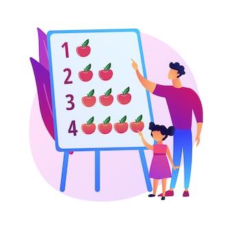 Illustrazione di concetto astratto moderno papà. padre casalingo, papà super bravo, coinvolgere i bambini dal vivo, insieme ai bambini, famiglia attiva, passare il tempo a giocare