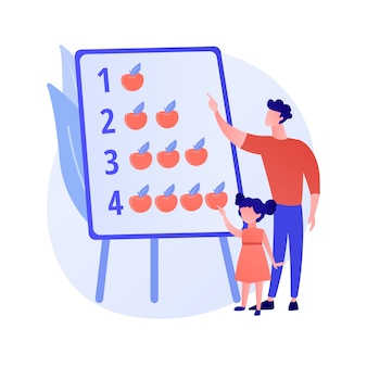 Illustrazione di vettore di concetto astratto di papà moderno. padre casalingo, papà super bravo, coinvolto nella vita dei bambini, insieme ai bambini, famiglia attiva, trascorrendo il tempo giocando a metafora astratta.